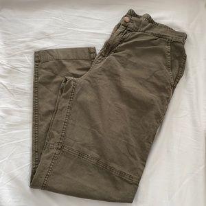 ROOTS Olive Green Khaki Linen Blend Pants